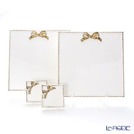 フィレンツェ スクエアコースター2枚&スクエアボード2枚 ホワイト/ゴールド リボン