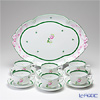 Herend 'Vienna Rose / Vieille Rose de Herend' VRH Tea Cup & Saucer, Oval Tray (set of 7 for 6 persons)