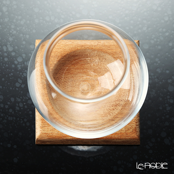 GLASSBACCA × Philippe Jamese 'Tencho - Glass & Porcelain' Swirling Sake Cup 200ml with Wooden Coaster (set of 2)