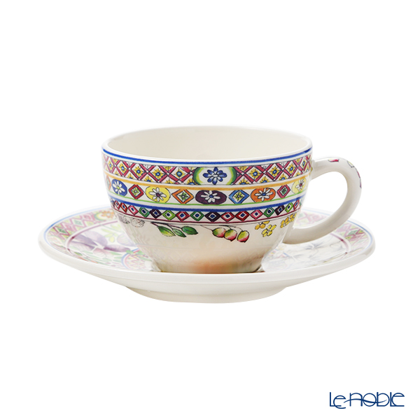 Gien 'Bagatelle' 17812PTH01&1781B4AB50 Tea Cup & Saucer, Plate (set of 2 for 1 person)