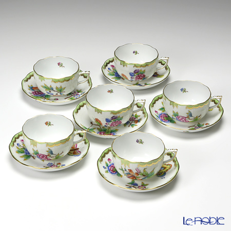 -Herend Victorian bouquet 00724-0-00/724 Tea Cup & Saucer set 200cc 6 guests