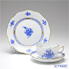 Herend 'Chinese Bouquet Blue / Apponyi' AB Tea Cup & Saucer, Plate (set of 2 for 1 person)