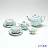 Herend 'Four Seasons / Quatre Saisons (Flower)' Blue QS Tea Cup & Saucer, Tea Pot, Sugar Pot, Creamer (set of 5 for 2 persons, Rose knob)