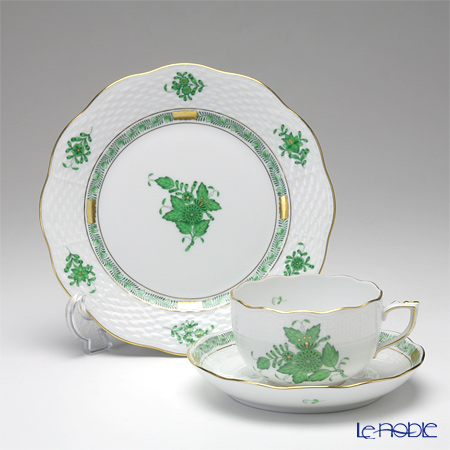 Chinese 'Bouquet Green / Apponyi' AV Tea Cup & Saucer, Plate (set of 2 for 1 person)