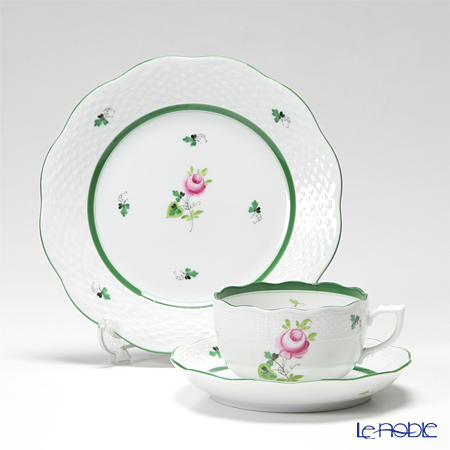 Herend 'Vienna Rose / Vieille Rose de Herend' VRH Tea Cup & Saucer, Plate (set of 2 for 1 person)
