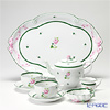 Herend 'Vienna Rose / Vieille Rose de Herend' VRH Tea Cup & Saucer, Tea Pot, Sugar Bowl, Creamer, Tea Tray (set of 6 for 2 persons, Rose knob)