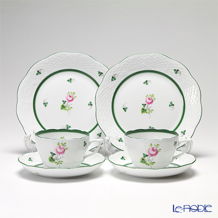 Herend 'Vienna Rose / Vieille Rose de Herend' VRH Tea / Coffee Cup (combined) & Saucer, Plate (set of 4 for 2 persons)