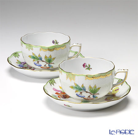 Herend Victoria avec bord dore Teacup with saucer 200 ml, VBO 00724-0-00/724 set of 2