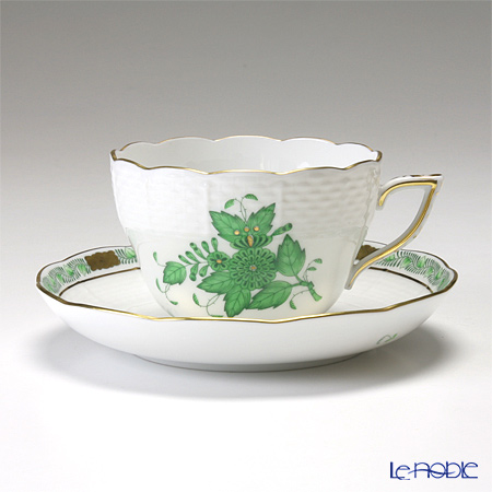 Herend 'Chinese Bouquet Green / Apponyi' AV 00730-0-00/730 Tea / Coffee Cup (combined) & Saucer 200ml (set of 2)
