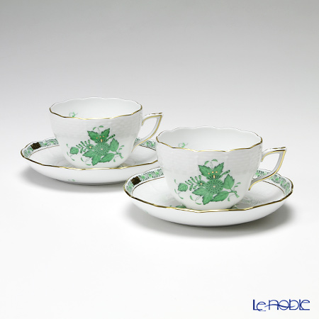 ヘレンド アポニーグリーン 00730-0-00/730 ティーカップ&ソーサー(兼用) 200cc ペア