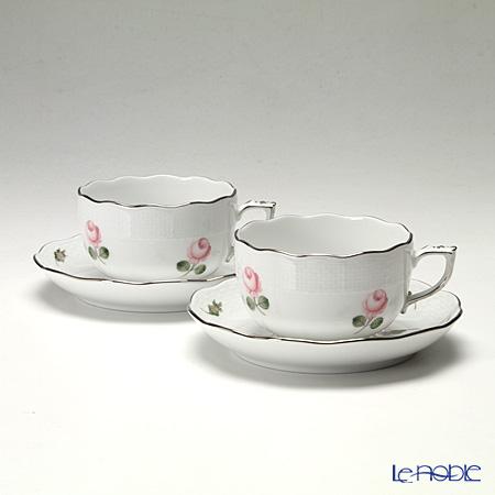 ヘレンド ウィーンのバラ プラチナ 00724-0-00 ティーカップ&ソーサー 200cc ペア