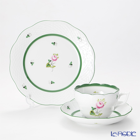 Herend 'Vienna Rose / Vieille Rose de Herend' VRH Tea / Coffee Cup (combined) & Saucer, Plate (set of 2 for 1 person)