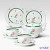 Herend 'Vienna Rose / Vieille Rose de Herend' VRH Tea Cup & Saucer, Plate, Tea Pot (set of 5 for 2 persons)