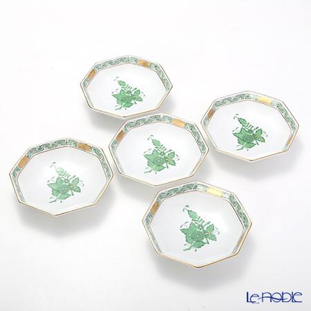 ヘレンド アポニーグリーン 04307-1-00 小皿(オクタゴナル) 11cm 5枚セット
