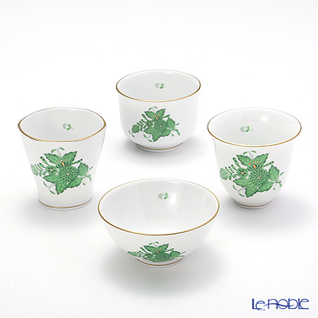 Herend Apponyi / Chinese Bouquet - Vert Sake Cup set of 4, AV