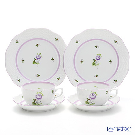 Herend 'Vienna Rose Lilac / Vieille Rose de Herend' VRHL Tea Cup & Saucer, Plate (set of 4 for 2 persons)