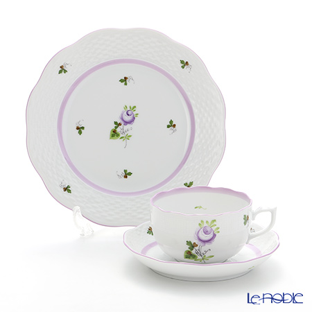 Herend 'Vienna Rose Lilac / Vieille Rose de Herend' VRHL Tea Cup & Saucer, Plate (set of 2 for 1 person)