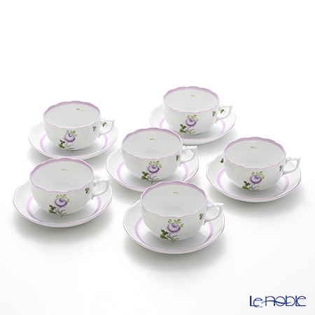 Herend 'Vienna Rose Lilac / Vieille Rose de Herend' VRHL 00724-0-00 Tea Cup & Saucer 200ml (set of 6)