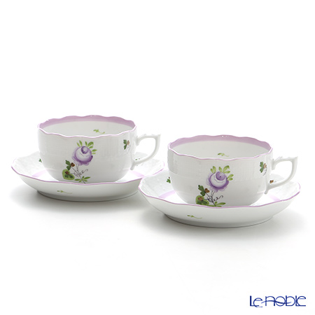 Herend 'Vienna Rose Lilac / Vieille Rose de Herend' VRHL 00724-0-00 Tea Cup & Saucer 200ml (set of 2)