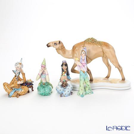 ヘレンド人形4体&ル・ノーブルオリジナル 陶磁器製フィギュリン ラクダ 1体 5点セット
