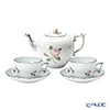 Herend 'Vienna Rose Platinum / Vieille Rose de Herend' VR-PR Tea / Coffee Combined Cup & Saucer, Tea Pot (set of 3 for 2 persons, Rose knob)