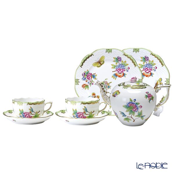 Herend 'Queen Victoria / Victoria avec Bord en Or' VBO Tea Cup & Saucer, Plate, Tea Pot (set of 5 for 2 persons, Rose knob)