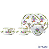 Herend 'Queen Victoria / Victoria avec Bord en Or' VBO Tea Cup & Saucer, Plate, Tea Pot (set of 5 for 2 persons, Rose knob)
