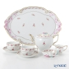 Herend 'Rose Garland' Pink RGS Tea Cup & Saucer, Tea Pot, Sugar Bowl, Creamer, Tea Tray (set of 6 for 2 persons, Rose knob)