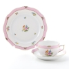 Herend 'Rose Tulip' Pink RTFP Tea Cup & Saucer, Plate (set of 2 for 1 person)