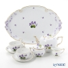 Herend 'Sisi Violet' Gold VIOLET Tea Cup & Saucer, Tea Pot, Sugar Pot, Creamer, Tea Tray (set of 6 for 2 persons, Rose knob)