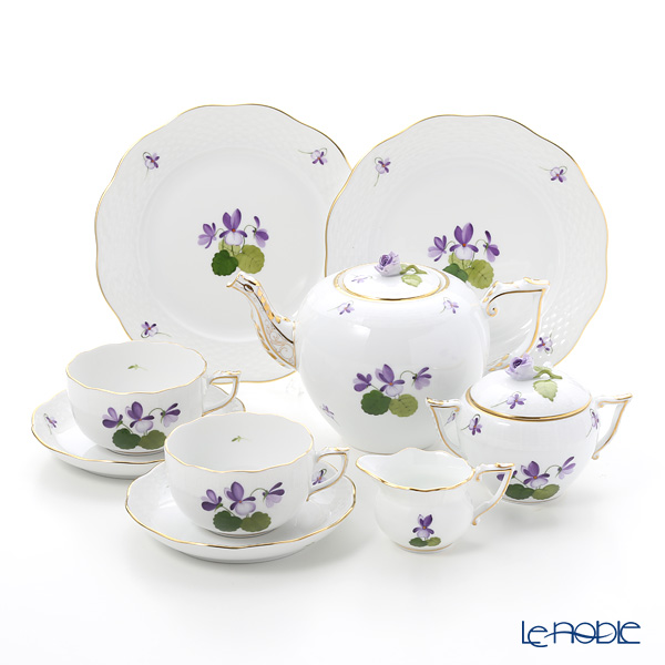 Herend 'Sisi Violet' Gold VIOLET Tea Cup & Saucer, Plate, Tea Pot, Sugar Pot, Creamer (set of 7 for 2 persons, Rose knob)