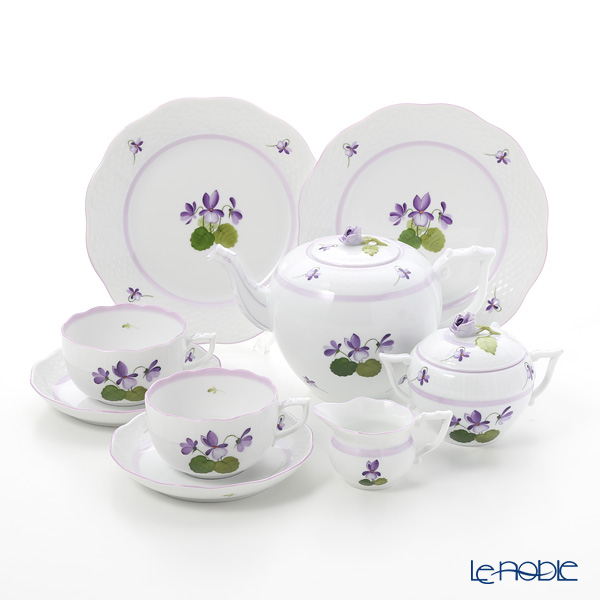 Herend 'Sisi Violet' Lilac VIOLETL Tea Cup & Saucer, Plate, Tea Pot, Sugar Pot, Creamer (set of 7 for 2 persons, Rose knob)