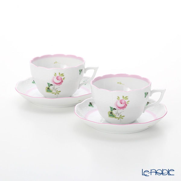 Herend 'Vienna Rose Pink / Vieille Rose de Herend' VRH-X4 00730-0-00 Tea / Coffee Cup (combined) & Saucer 200ml (set of 2)