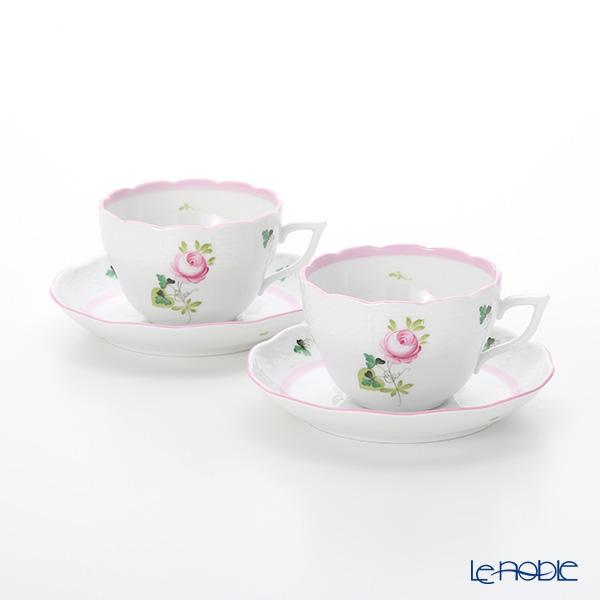 ヘレンド ウィーンのバラ ピンク 00730-0-00/730 ティーカップ&ソーサー(兼用) 200cc ペア