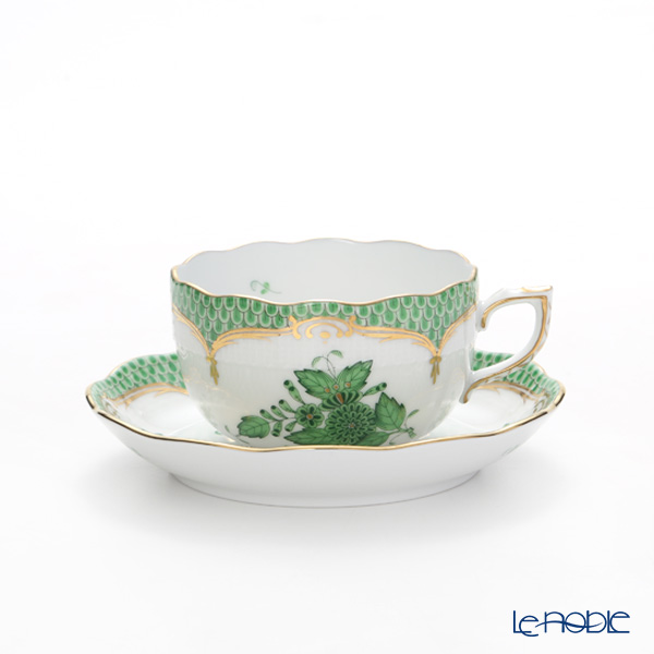 Herend 'Chinese Bouquet Green Fish scale / Apponyi Ecaille' AV-EV Tea Cup & Saucer, Plate, Tea Pot, Sugar Bowl, Creamer (set of 7 for 2 persons, Rose knob)