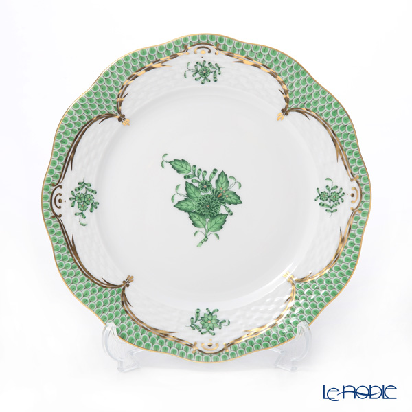 Herend 'Chinese Bouquet Green Fish scale / Apponyi Ecaille' AV-EV Tea Cup & Saucer, Plate (set of 4 for 2 persons)