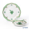 Herend 'Chinese Bouquet Green Fish scale / Apponyi Ecaille' AV-EV Tea Cup & Saucer, Plate (set of 2 for 1 person)