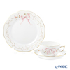 Herend 'Eden Simple (Flower Ribbon)' Pink EDENSP-2 20724-0-00&20517-0-00 Tea Cup & Saucer, Plate (set of 2 for 1 person)
