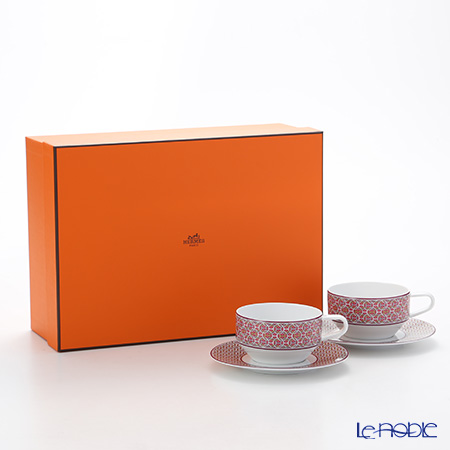 Hermes 'Tie-Set' Fuchsia Pink Tea Cup & Saucer 150ml (set of 2)