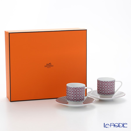 Hermes 'Tie-Set' Garnet Red Coffee Cup & Saucer 100ml (set of 2)