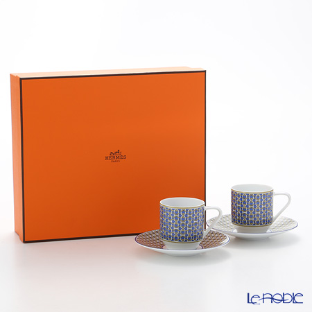 Hermes Tie-Set Cobalt Coffee Cup & Saucer, 100 ml set of 2