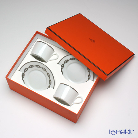 Hermes Chaîne d'Ancre Teacup and saucer, platinum, 5.33 fl. oz., 2 pcs. with gift box