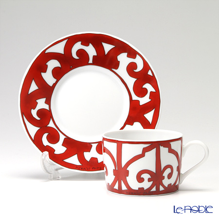 Hermes 'Balcon du Guadalquivir' Red Tea Cup & Saucer 160ml (set of 2)