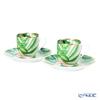 Hermes 'Passifolia' 044017P Demitas / Espresso Coffee Cup & Saucer 100ml (set of 2)