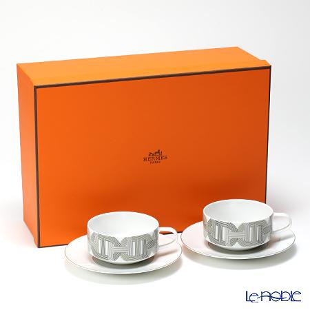 エルメス(HERMES) ラリー 24ティーカップ&ソーサー 150ml ホワイト ペア 【ブランドボックス付】