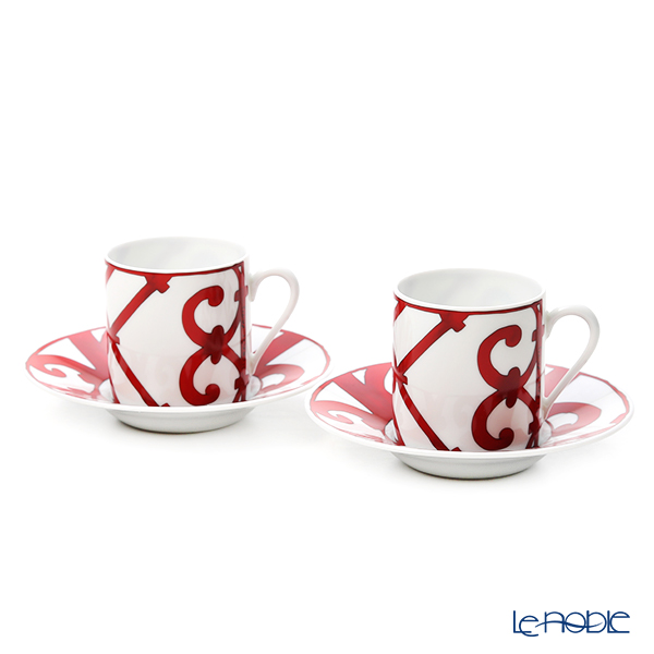 Hermes Balcon du Guadalquivir Coffee cup and saucer, 3.33 fl.oz. 2 pcs. with gift box