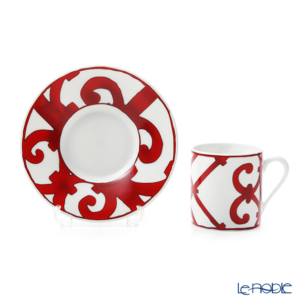Hermes 'Balcon du Guadalquivir' Red Coffee Cup & Saucer 90ml (set of 2)