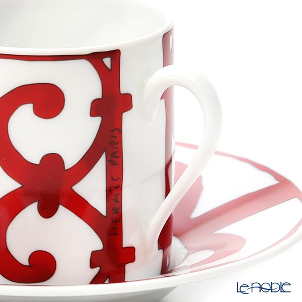 Hermes 'Balcon du Guadalquivir' Red 011017P Coffee Cup & Saucer 90ml (set of 2)