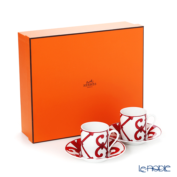 Hermes Balcon du Guadalquivir Coffee Cup & Saucer 90ml (set of 2) with brand box