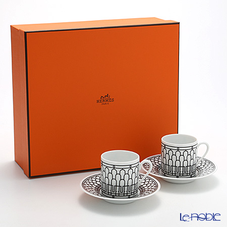 Hermes 'H Deco' Black Coffee Cup & Saucer 90ml (set of 2)